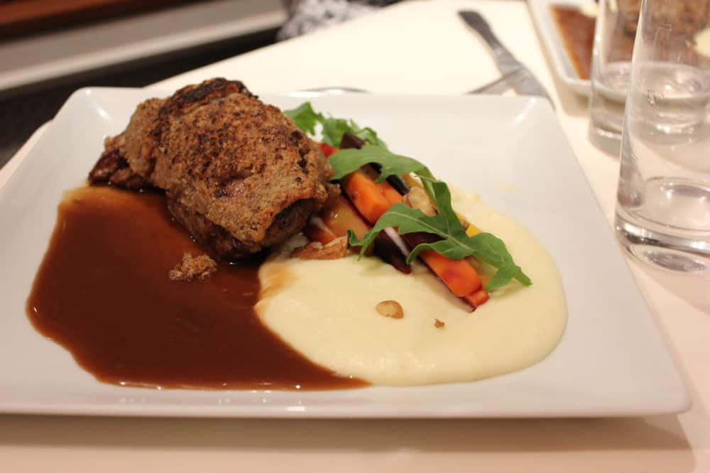 Filet of veal in a walnut pastry crust, whipped potatoes with tommee cheese (ewe's milk), and honey's carrot