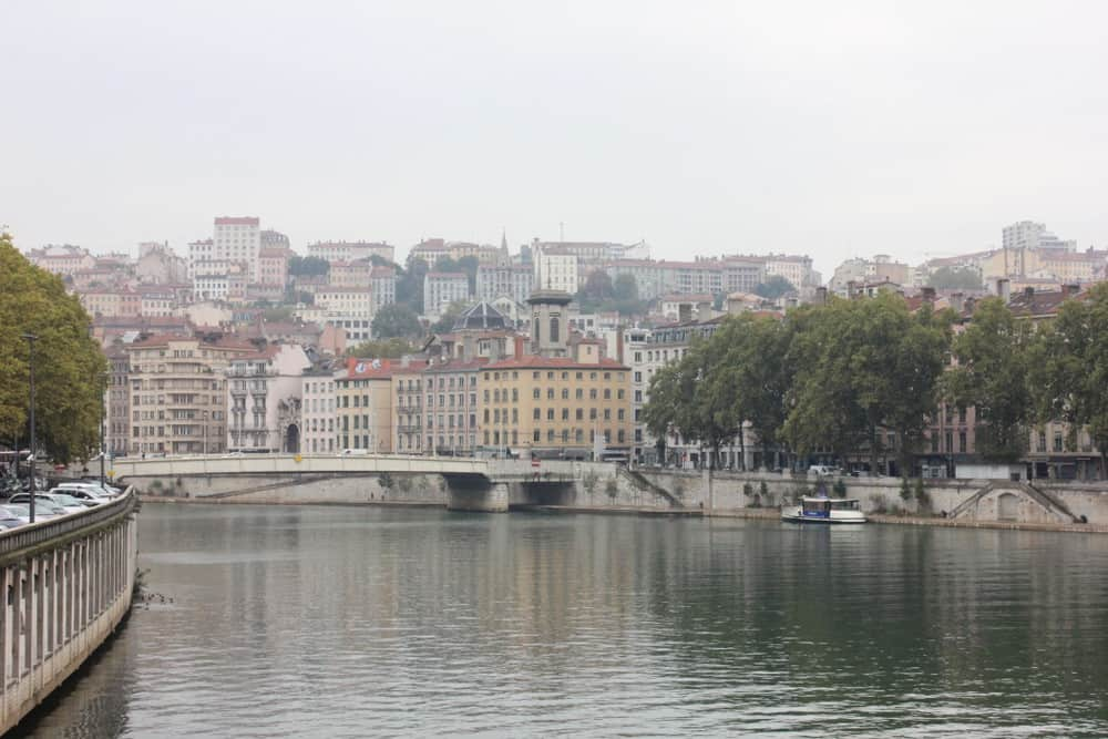 Lyon city view from the River Saone.