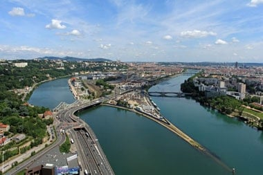 The marriage of Saone and Rhone, in Lyon