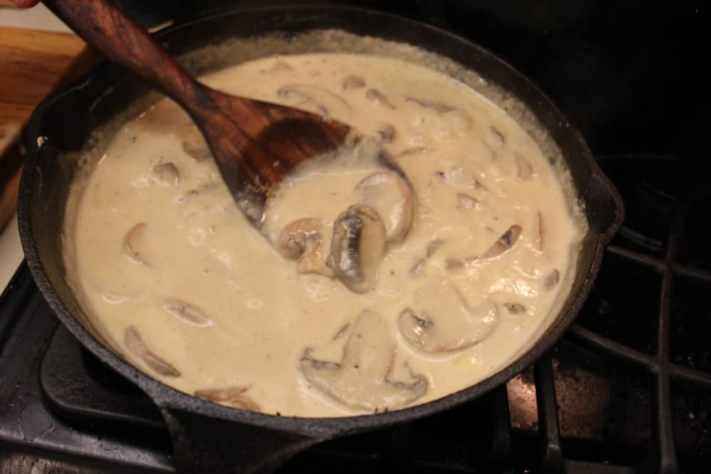 Cook with the cream until nicely thickened