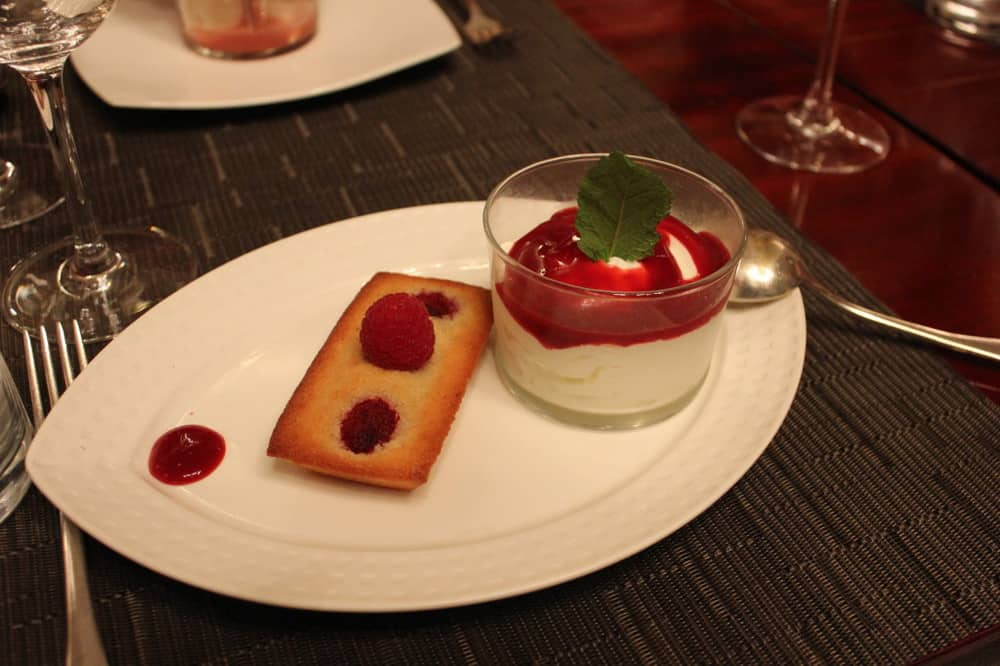 Raspberry financier, creamed fromage blanc with lime