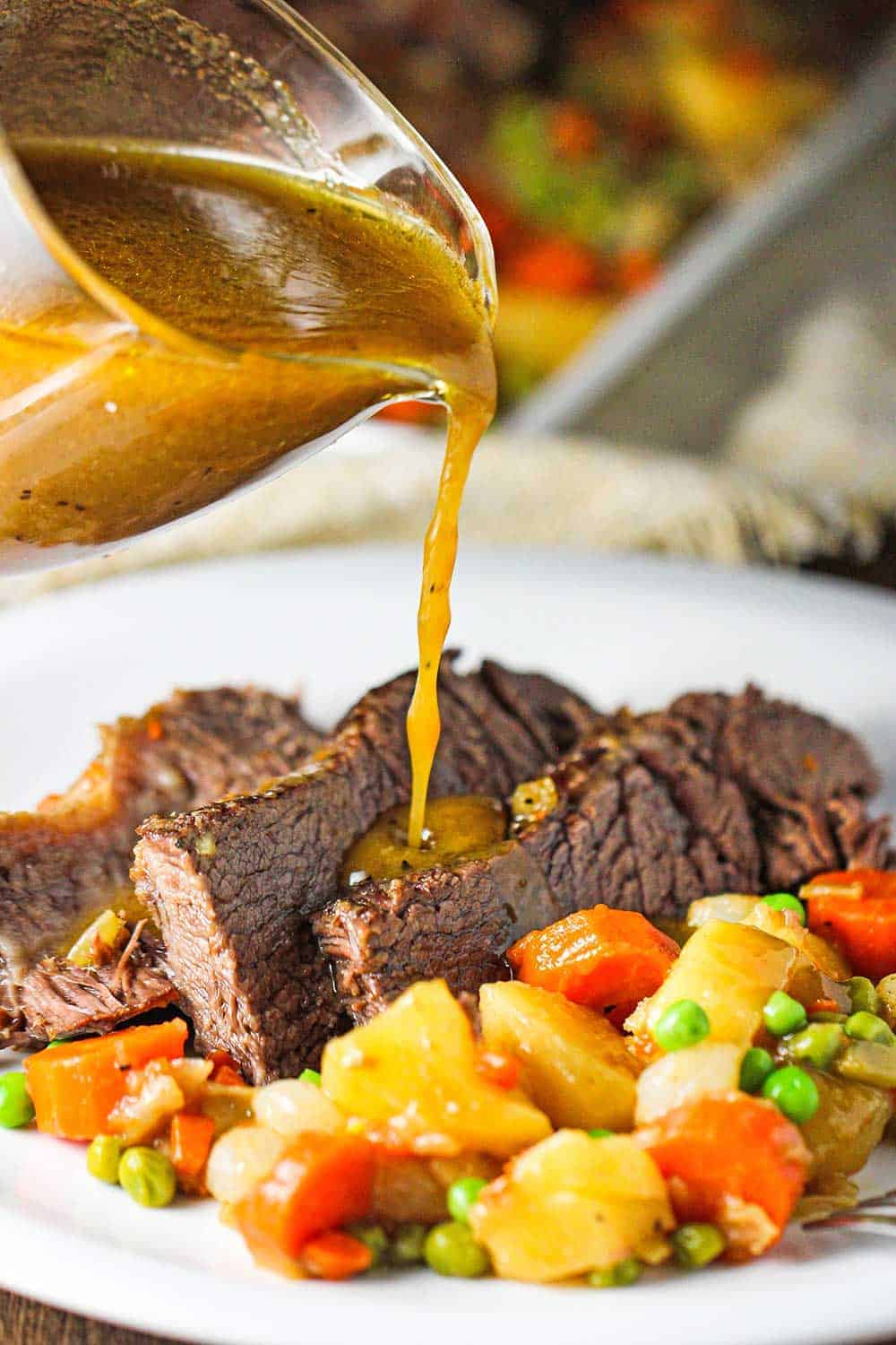NEW: Slices of American pot roast and vegetables on a white plate