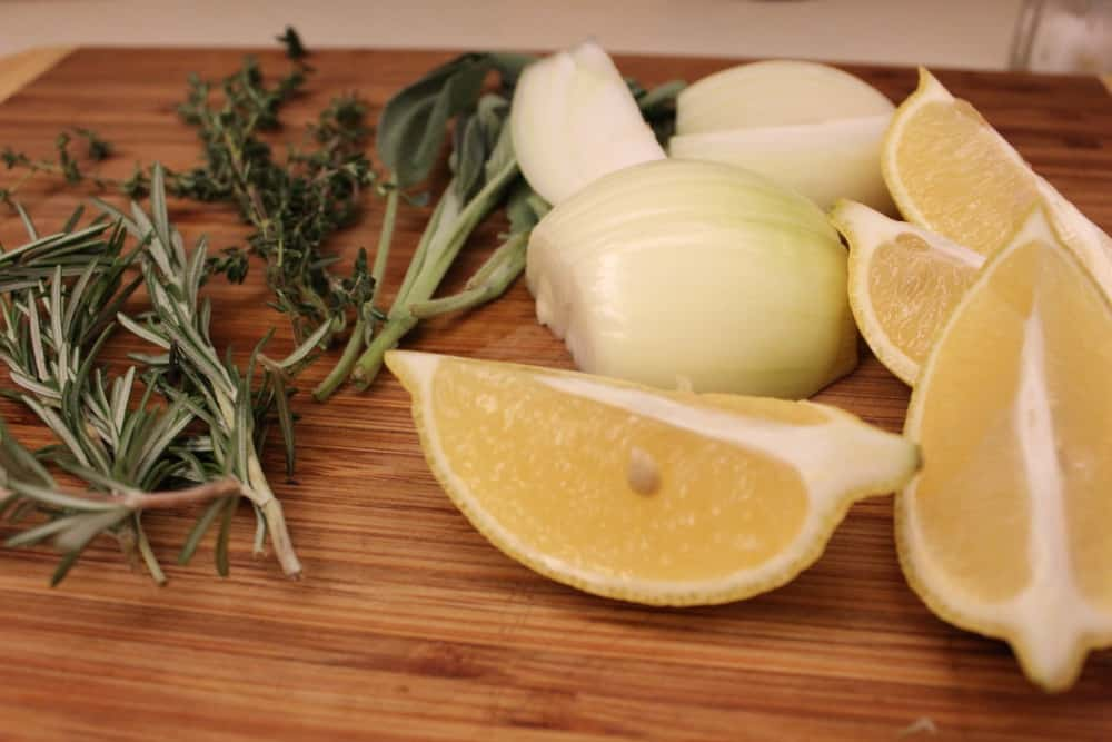 Let's add some aromatics, onion and lemon