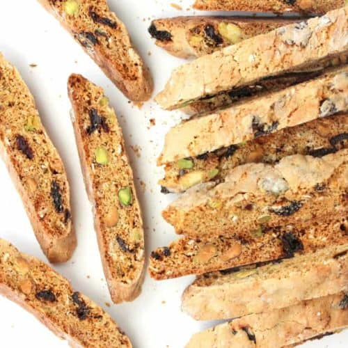 Biscotti with pistachios and dried cherries