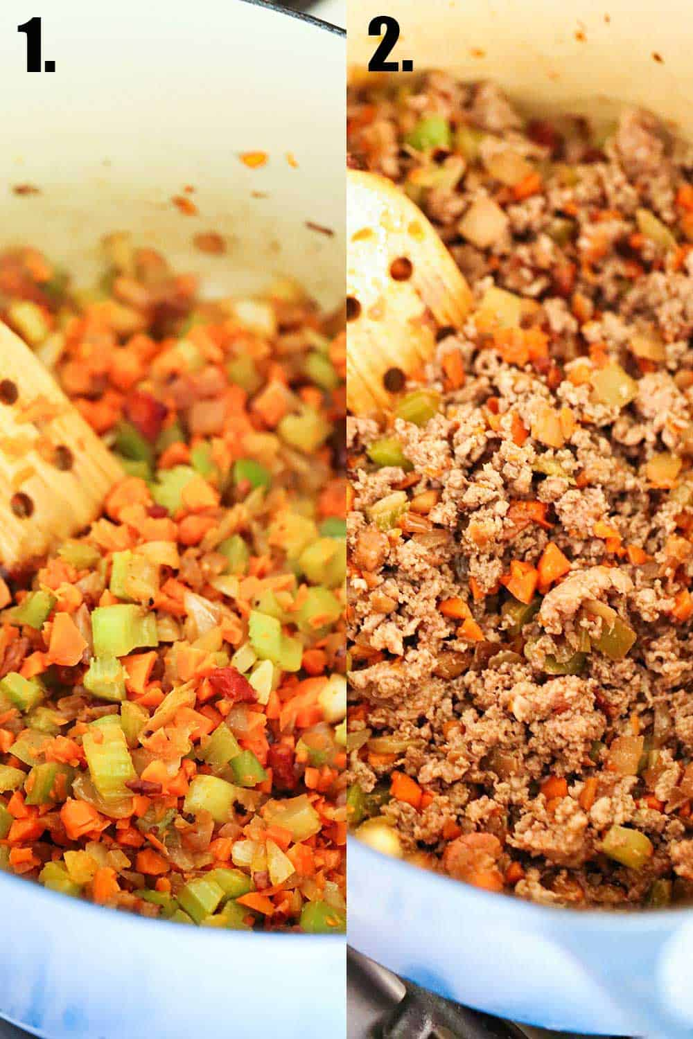 2 side-by-side photos, 1st of a mirapoix being sautéed in a blue Dutch oven, the 2nd is the same mixture with ground meat added in.