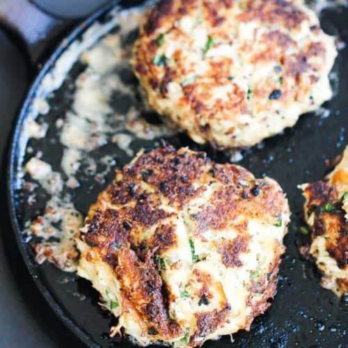 Southern Style Crab Cakes on a flat circular griddle