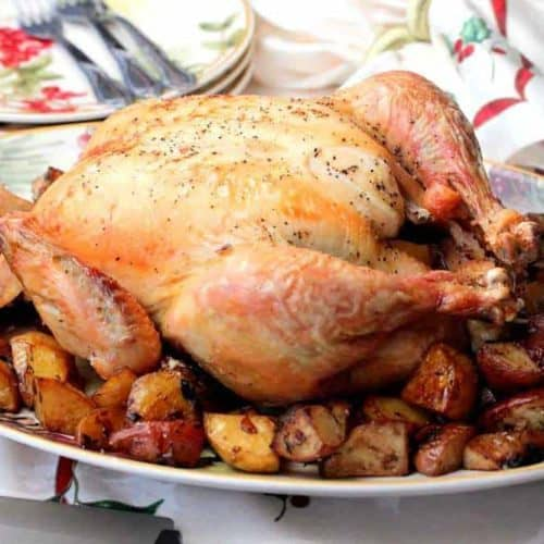 Roasted whole chicken on a platter