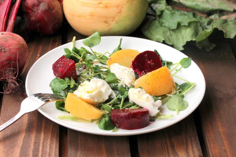 Roasted beets and watercress salad with fresh mozzarella on a white plate with a fork