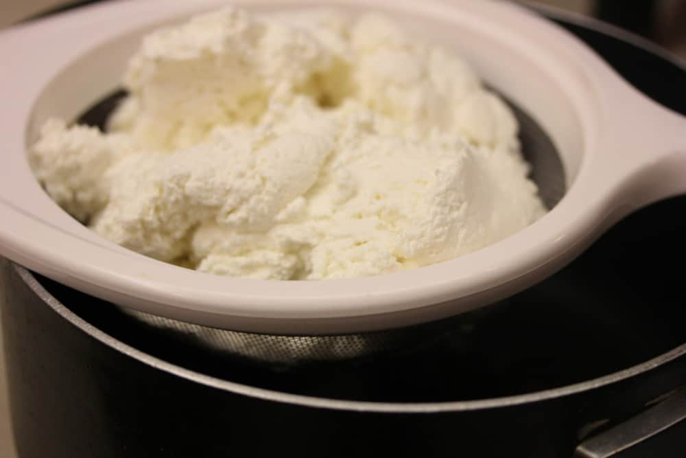 Let the fresh whole milk ricotta drain for about 10 minutes