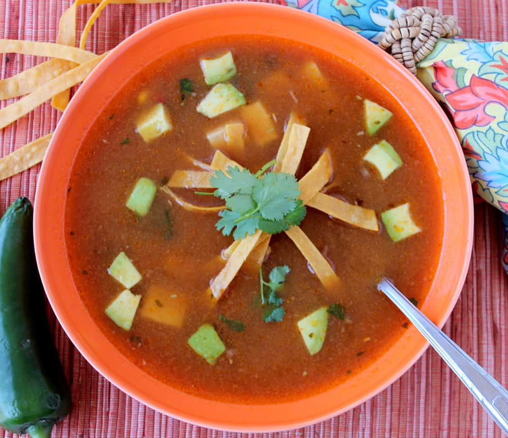 Tortilla Soup with Ancho Chile and Avocado
