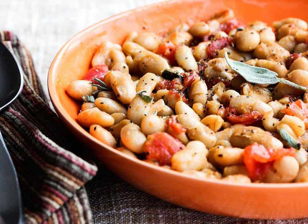 Sautéed White Beans with Garlic, Sage and Tomatoes recipe