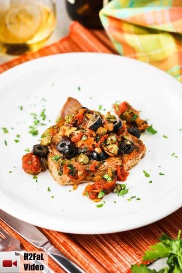 Mediterranean Tuna Steaks on a white plate