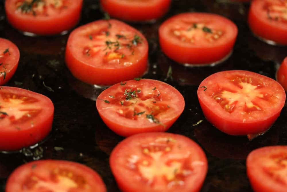 Tomatoes with olive oil, S&P, fresh thyme...ready for roasting
