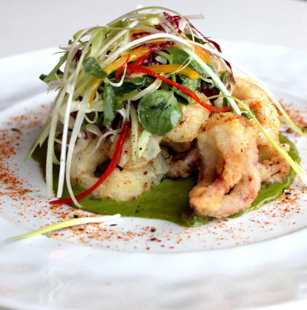 """Salt & Pepper"" calamari with jalapeno & pickled ginger vinaigrette"