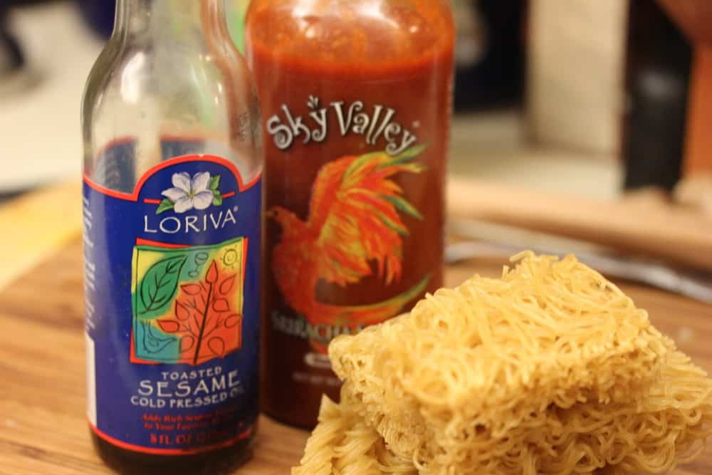 Ramen noodles go perfectly with sesame oil and Sriracha