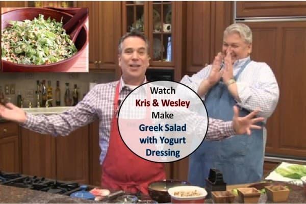 Watch Kris & Wesley make Greek Salad with Greek Yogurt
