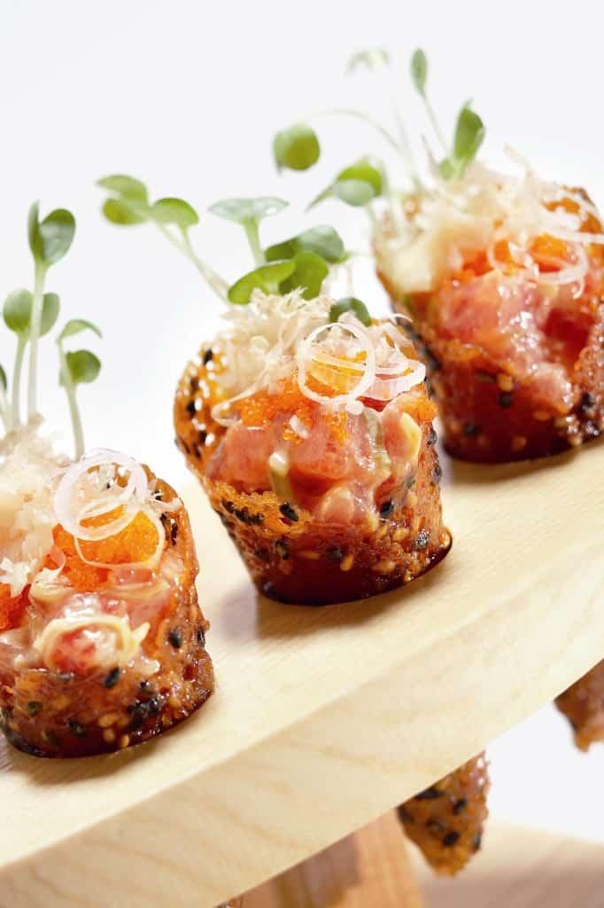 Spicy Tuna Tartare , Seasame-Miso Cones, Shave Bonito, Tobiko