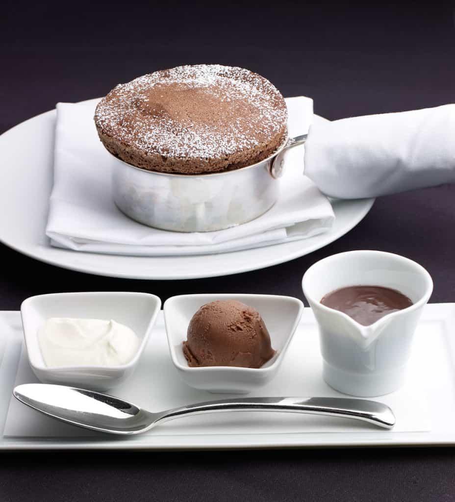 Flourless Chocolate Cake, Praline Mousse, Milk Chocolate Caramel Ice Cream, Almond Nougatine