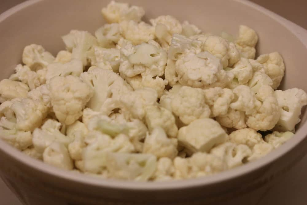 You'll need about 12 cups of cauliflower, usually 3 small heads