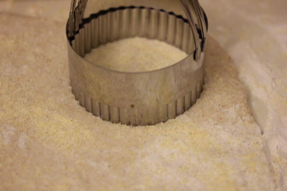 Punch out the muffins with a 3 1/2 inch biscuit cutter