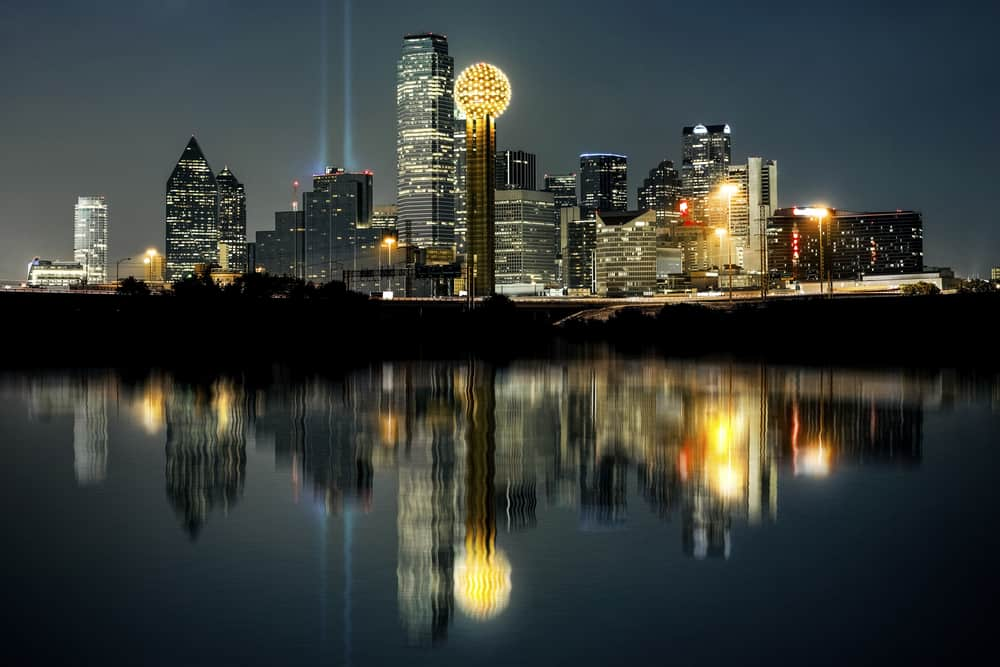 Skyline of Dallas, Texas at sunset.