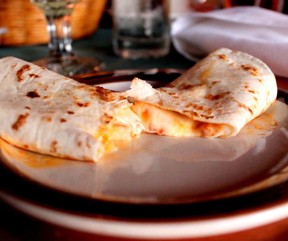 Cheese Panela - Grilled Monterey cheese with Chorizo with warm flour tortillas - prepared specially at your table
