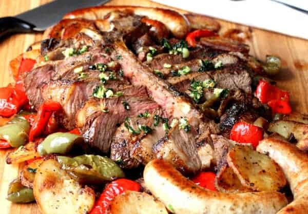 Porterhouse Steak with Peppers, Sausage & Potatoes