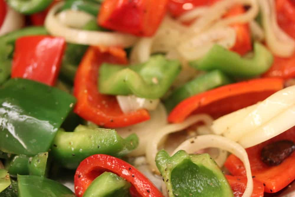 Sauteed onions, red & green peppers with the garlic. Yes!