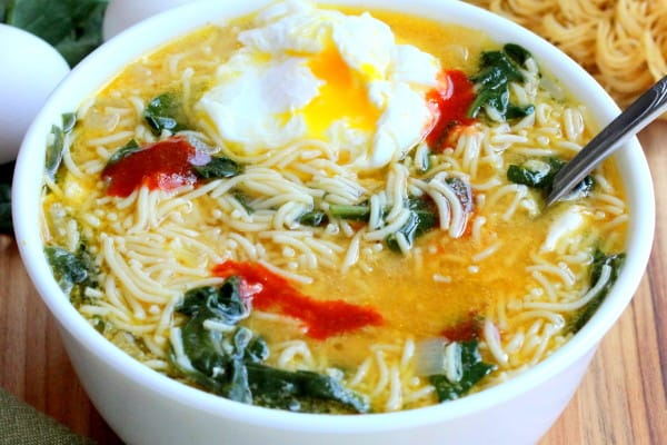 Spinach-Ramen Noodle Soup with Poached Egg