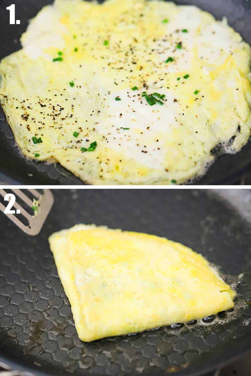 A skillet filled with a thin omlet and then a skillet with an omlet that's folded into a quarters.