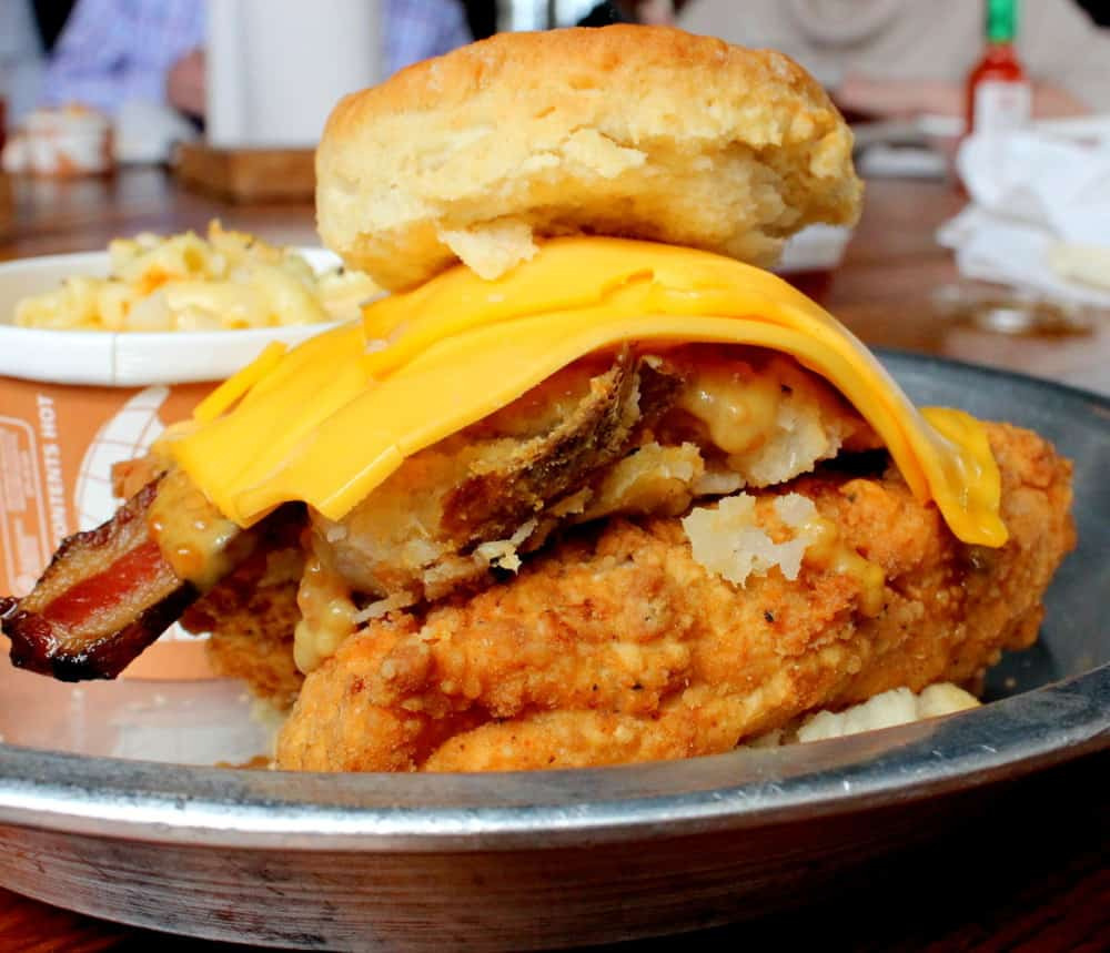 The Foundry: Fried Chicken on a biscuit with mashed potatoes, smoked bacon, beer mustard, cheese & oregano vinegar honey
