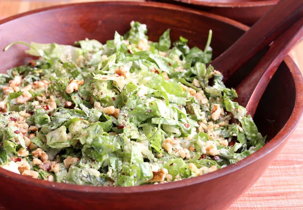 Shredded Romaine and Cucumber Salad with Yogurt Dressing