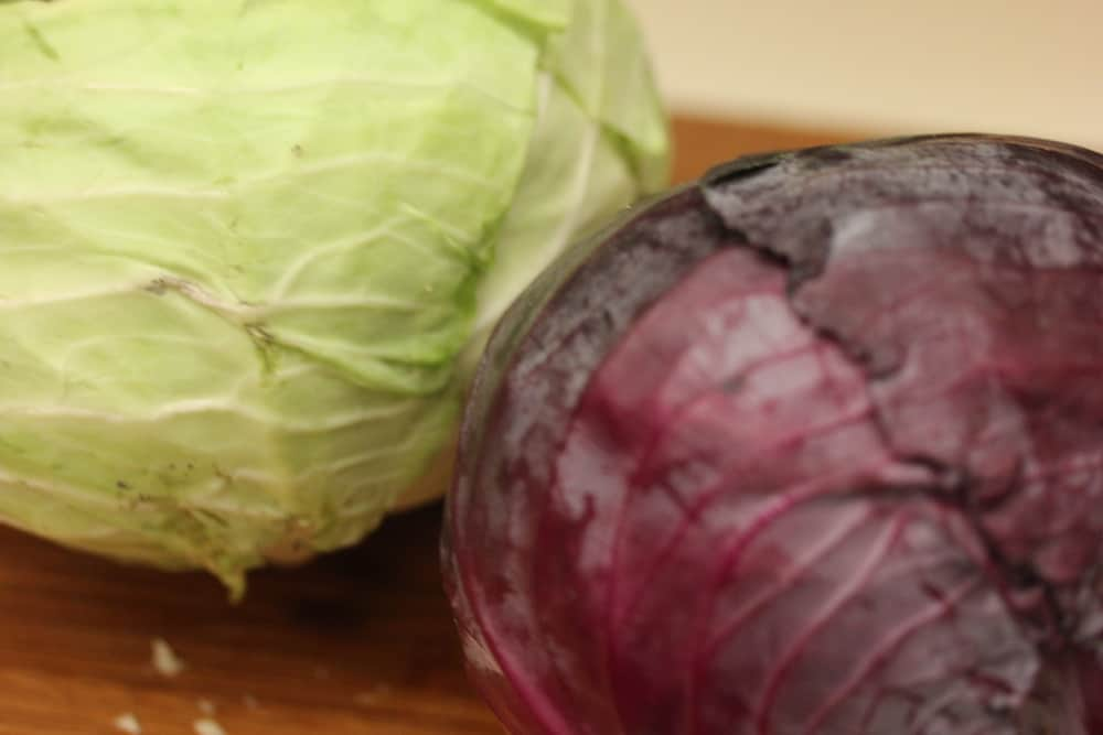 Green and red cabbage are wonderful together