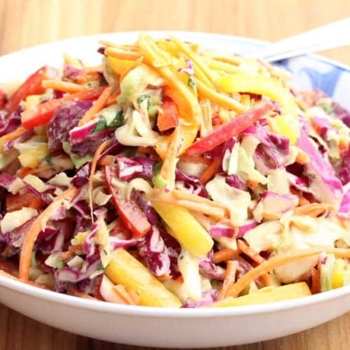 A white bowl with amazing asian slaw.