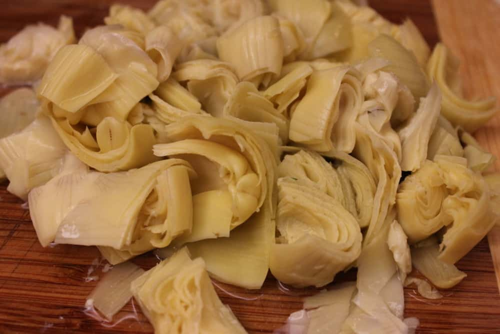 Chopped artichoke hearts. Yum!