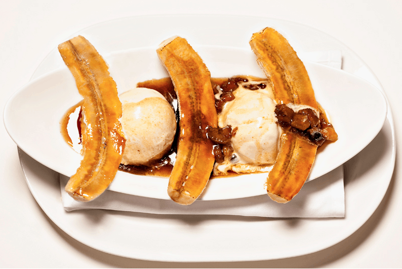 Bananas Foster with caramelized bananas, banana rum sauce and homemade ice cream.  What?