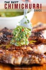 grilled cowboy ribeye steak with chimichurri sauce