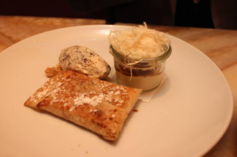 Tahini Katmir, Esspresso Halvah Parfait, & Halva-Stracciatella Ice Cream