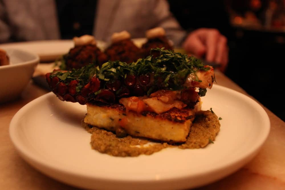 Grilled octopus with feta polenta