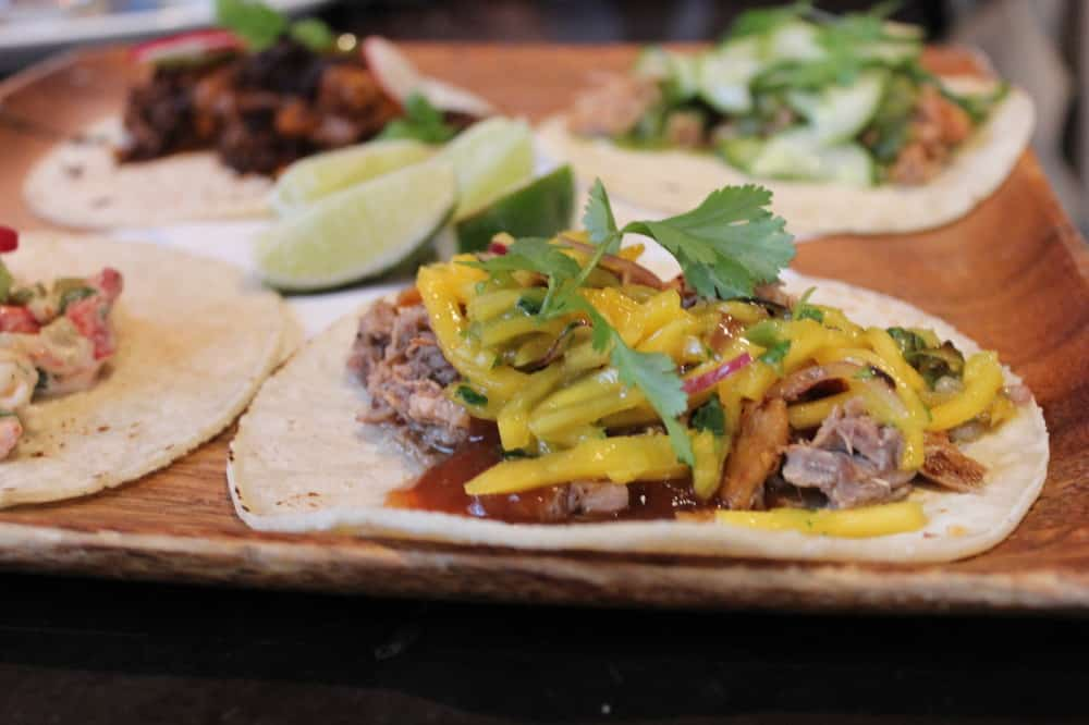 Braised duck taco with mango/red onion salsa