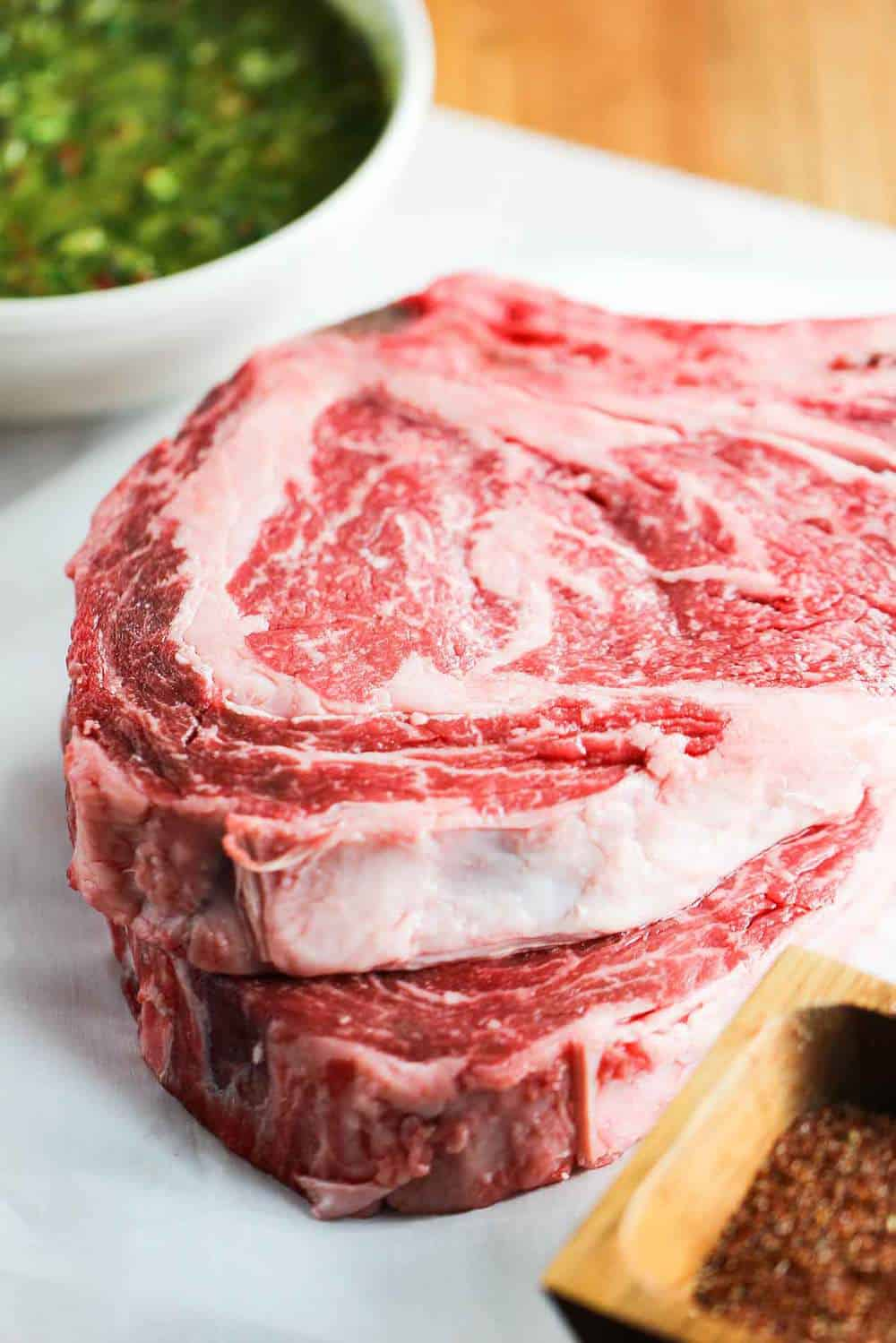 It is the marbling in this ribeye steak that makes it so juicy