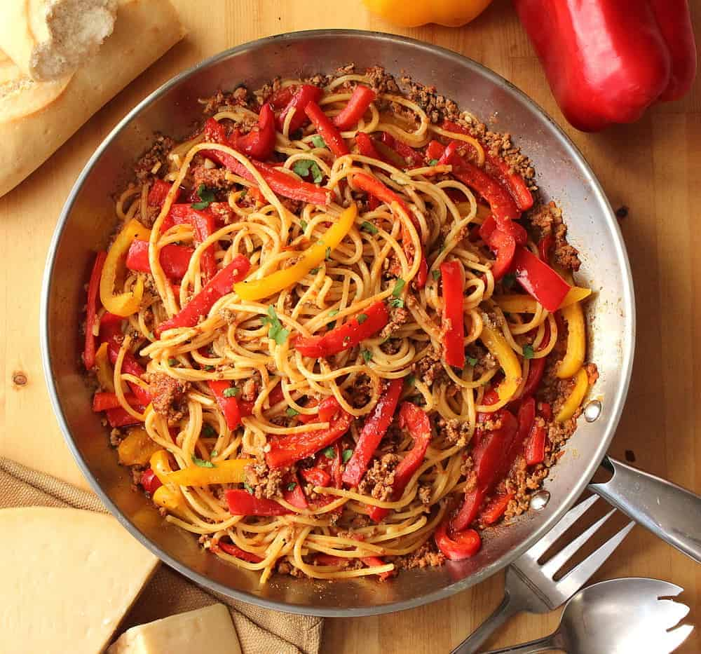 Spaghetti with Lamb and Sweet Pepper Ragu