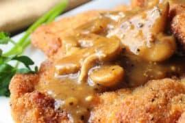 German Schnitzel with Mushroom Gravy