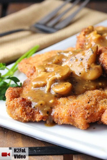 German Schnitzel with Mushroom Gravy