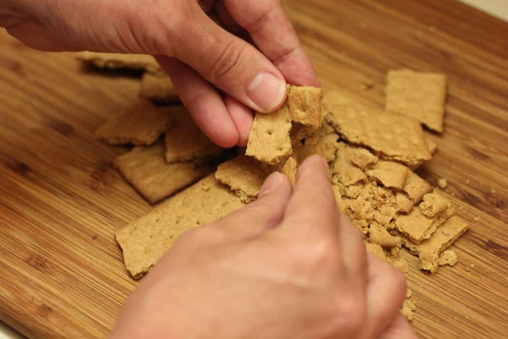 Roughly chop graham crackers and add in the last 5 minutes