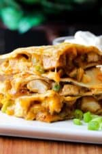 chicken quesadilla with grilled chicken and cheese