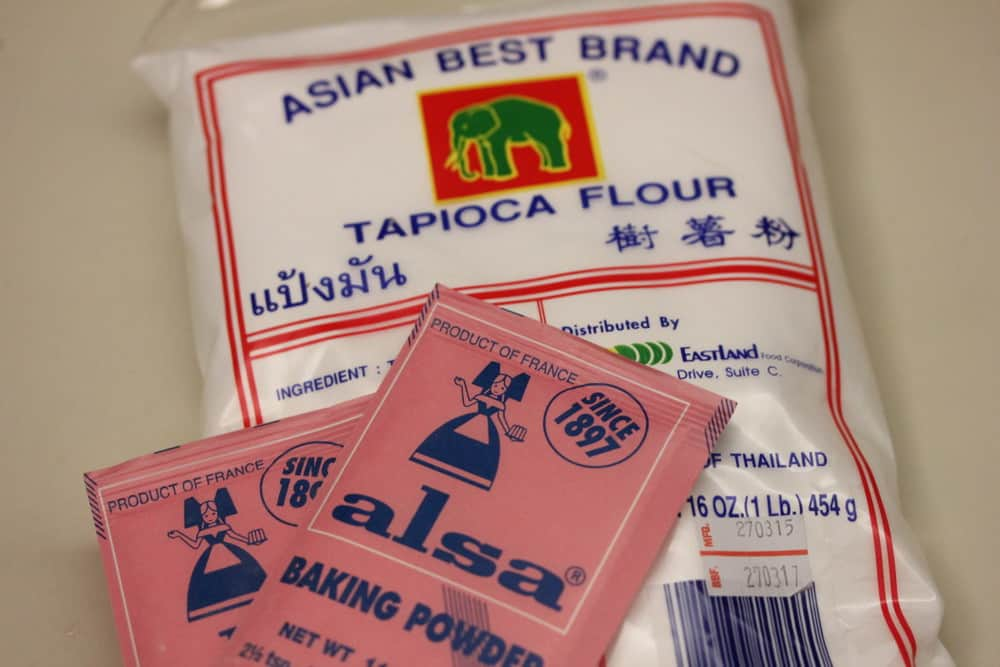 Asla baking powder and tapioca flour will be mixed with warm water