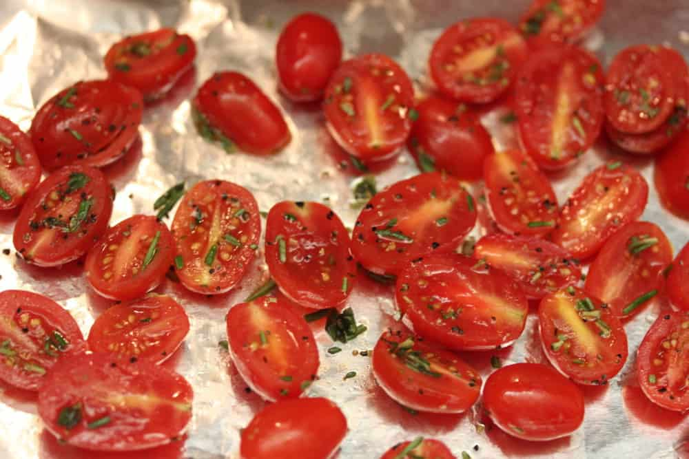 Roast the tomatoes with olive oil, salt, pepper and rosemary