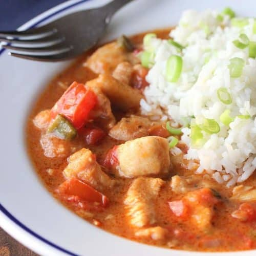 A bowl of Cajun chicken and rice