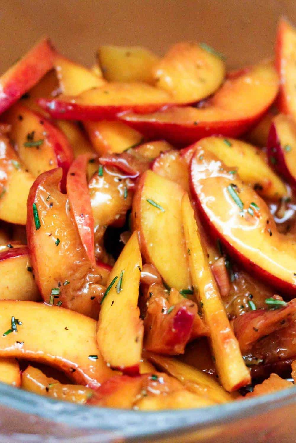 Peaches in a pot marinating for braised chicken and savory peaches.